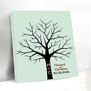 Cartel personalizado para libro de invitados, doble árbol ...