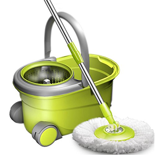 Hodleys Upgraded Stainless Steel Deluxe 360 Spin Mop & Bucket Floor Cleaning System Included EasyPress Handle With Rolling Wheels Includes 2 Microfiber Mop Heads