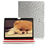 iPad Mini Case Bling, elecfan ® PU Leather Ultra Slim Lightweight Book Style Flip Stand Folio Case Waterproof Smart Cover with Auto Sleep /Awake Feature for iPad Mini 1/2/3 - Silver