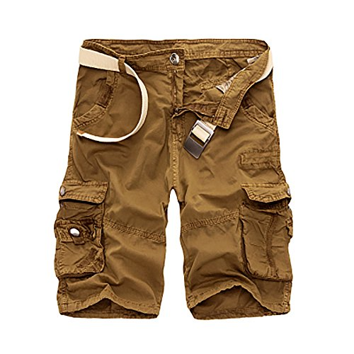 NiuZi Men's Loose Fit Twill Cargo Shorts Cotton Multi-Pocket Outdoor Lightweight Cargo Camouflage Shorts (Yellowish, Label 38(US 36)) ()