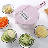 Vegetable Slicer-Adjustable Mandoline Kitchen Slicer with Stainless Steel Blades-8 in 1 Julienne Slicer with Food Storage and Filter Basket,Vegetable Cutter,Grater For Cheese,Potatoes,Onion,Zucchini