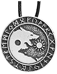 Mens Wolf Head Necklace Pendant for Dog Lover Men Norse Viking Warrior Arrow Headed Amulet Jewelry