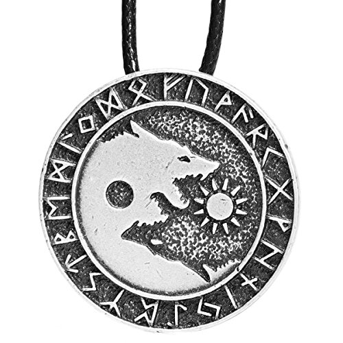(Paw Paw House Mens Wolf Head Necklace Pendant for Dog Lover Men Norse Viking Warrior Arrow Headed Amulet Jewelry (4008))