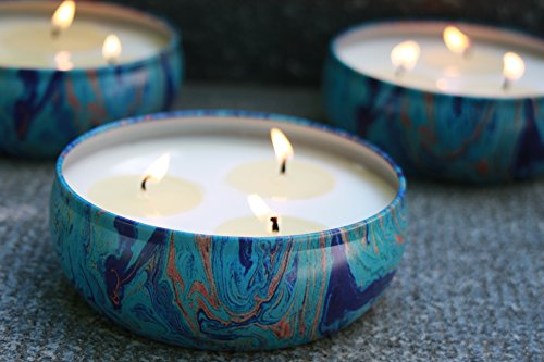LA JOLIE MUSE Citronella Candles Scented Soy Wax 3 Wick Tin, 70 Hour Burn, Outdoor and Indoor by LA JOLIE MUSE (Image #2)