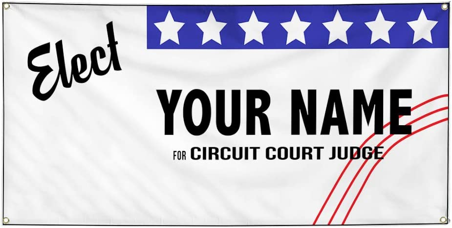 Custom Vinyl Banner Sign Multiple Sizes Elect Name for Position White Black A Political Elect Signs Outdoor White 4 Grommets 24inx60in Set of 5