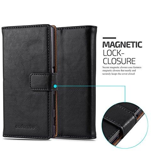 Cadorabo - Funda Estilo Book Lujo para Sony Xperia Z5 con Tarjetero y Función de Soporte - Etui Case Cover Carcasa Caja Protección en NEGRO-GRAFITO NEGRO-GRAFITO