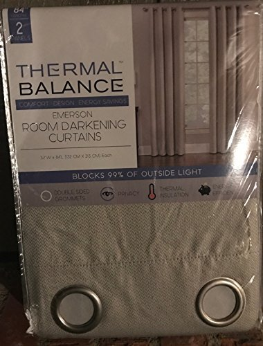 Ivory Thermal Balance Room Darkening Curtains Blocks 99% of outside light 2 84 inch panels