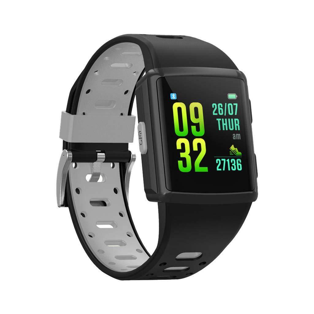 YNAA for iOS Android, Waterproof Sport Smart Watch, Smart Bracelet Blood Pressure Heart Rate Monitoring Tracker GPS Watch (Gray)