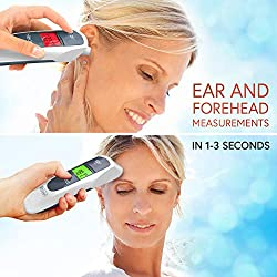 iProven Adult Medical Thermometer - Digital Thermometer for Fever - Temperature Measurements via Forehead and Ear - Pouch, Batteries, and Quick Start Guide Included - Temporal Thermometer DMT-316