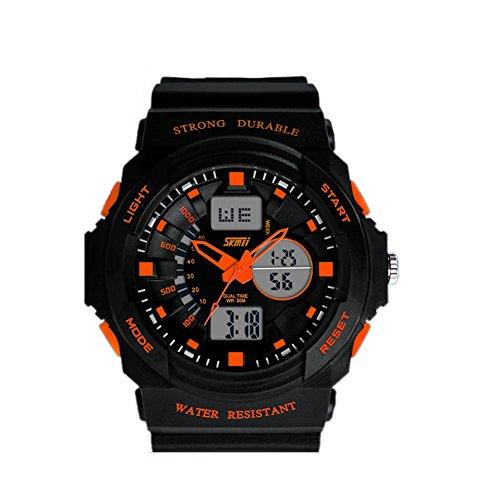 DAYAN Mode Multi Function numérique étanche LCD Alarm Date Mens militaire Sport poignet Montre LED orange
