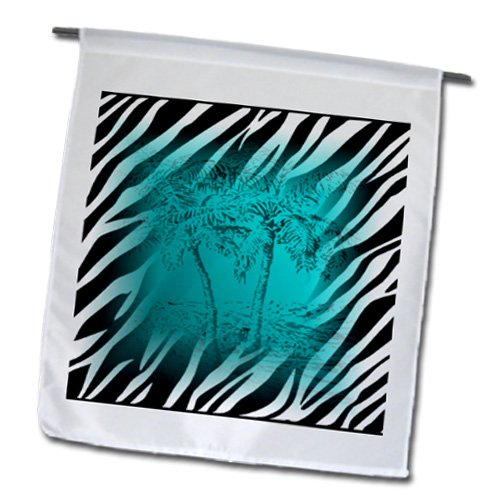 3dRose fl_112466_1 Aqua Palms Over Black N White Zebra Garden Flag, 12 by 18-Inch Review