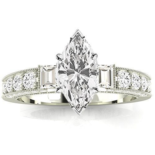 1.08 Ctw 14K White Gold Gorgeous Prong Set Round And Half Bezel Baguette Engagement Ring w/ Marquise 0.5 Carat Forever One Moissanite Center