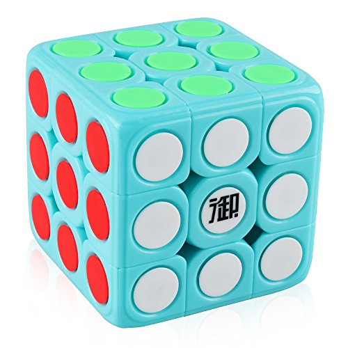 D-FantiX Dot Cube 3x3 Speed Cube Stickerless 3x3x3 Magic Cube Puzzles Learning Educational Toys Removable Cap