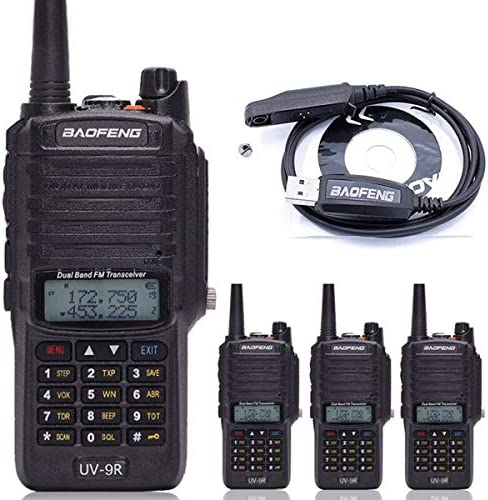 4pcs BaoFeng UV-9R Dual Band Walkie Talkie Dustproof Waterproof IP67 136-174 400-520MHZ VHF UHF Transceiver Two Way Radio Programming Cable