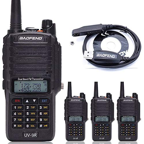 4pcs BaoFeng UV-9R Dual Band Walkie Talkie Dustproof Waterproof IP67 136-174/400-520MHZ VHF/UHF Transceiver Two Way Radio+ Programming Cable