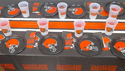 49 pieces Cleveland Browns Party Set, Includes 16 Paper Plates, 16 Napkins, 16 Jumbo 14 oz Plastic Cups, and Large Tablecloth.