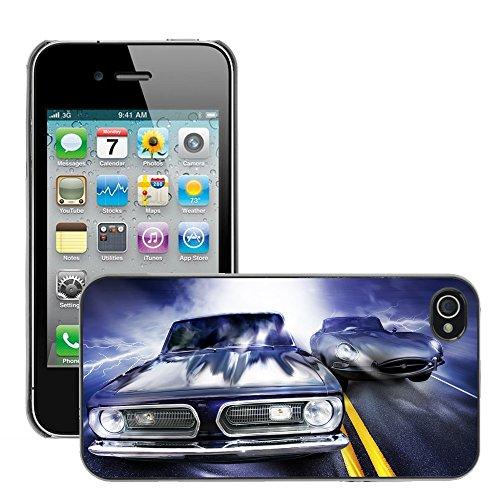 Premio Sottile Slim Cassa Custodia Case Cover Shell // V00002587 voitures de courses // Apple iPhone 4 4S 4G