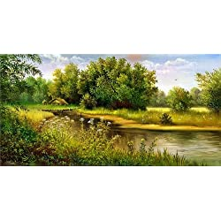 Startonight Canvas Wall Art Country Landscape Lake, Nature USA Design for Home Decor, Dual View Surprise Artwork Modern Framed Ready to Hang Wall Art 23.62 x 47.2 Inch 100% Original Art Painting!