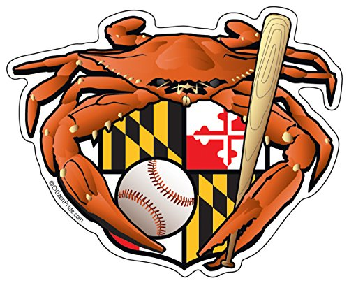 Citizen Pride Maryland Oriole Baseball Crab Maryland Crest 5x4 inches sticker decal die cut vinyl - Made in USA ()