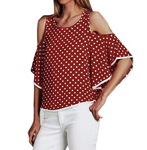 Col Blouse Polka New Shirt Flare Casual Tee Mode Rond T Rouge Epaule Femmes Lache Sweatshirts Sleeve Hauts Nu Chemisiers Bgqgzt