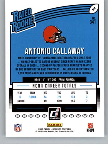 Amazon.com  2018 Donruss Football  341 Antonio Callaway RC Rookie Card  Cleveland Browns Rated Rookie Official NFL Trading Card  Collectibles    Fine Art d472405c7