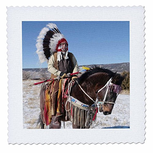 [3dRose qs_92657_4 Native American Indian, Alcalde, New Mexico-Us32 Jmr0305-Julien Mcroberts-Quilt Square, 12 by 12-Inch] (Comanche Costumes)