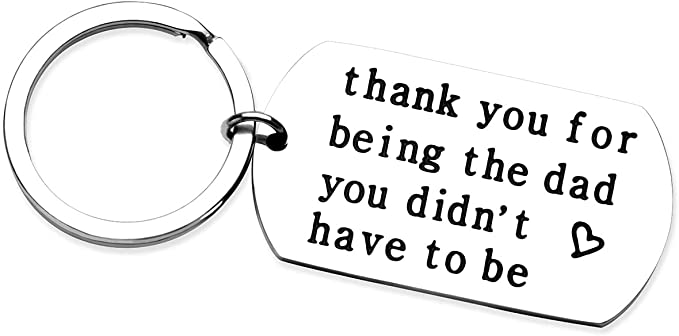 RioGree Dad Gifts for Father in law, Thank You for Being the Dad You Don't Have to Be - Creative Stainless Steel Keychain Stepdad Gifts for Fathers Day, Christmas,Birthday,Retirement,Anniversary