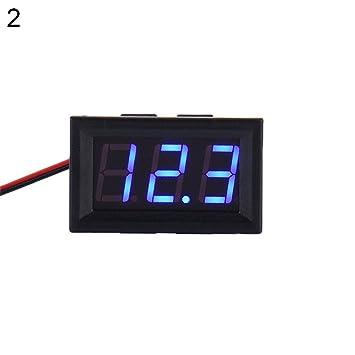 Milnnare DC 3,2 - 30 V voltímetro de dos cables LED Panel pantalla digital tensiómetro - Azul: Amazon.es: Bricolaje y herramientas