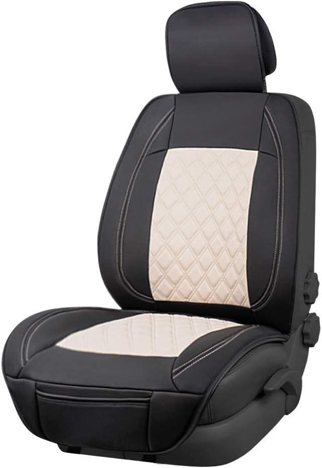 AmazonBasics - Funda Deluxe de asiento de cuero sintético de ajuste universal sin laterales, negro y beige
