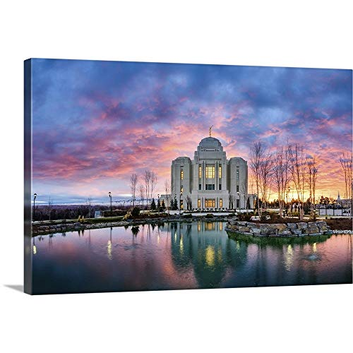 GREATBIGCANVAS Gallery-Wrapped Canvas Entitled Meridian Idaho Temple, Sunrise Colors, Meridian, Idaho by Scott Jarvie 30