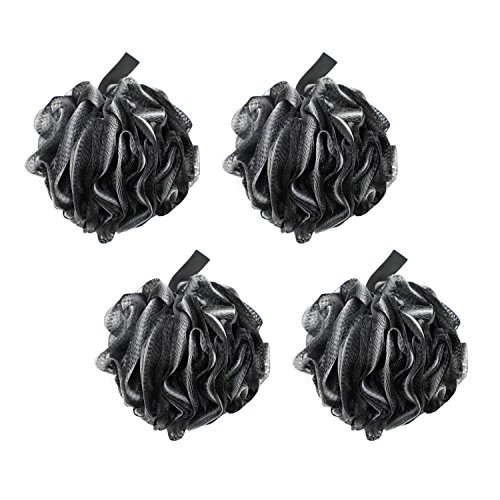 EZGO Large Pouf Shower Sponge Bath Ball, Eco-friendly Bamboo Charcoal Exfoliating Mesh Black Pack of 4