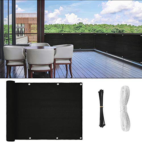 GOOVI Fence Privacy Screen, 3ft x16ft Mesh Fence Windscreen for Porch Deck, Outdoor, Backyard, Patio, Balcony to Cover Sun Shade, UV-Proof, Weather-Resistant