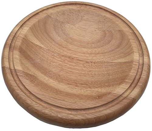 Checkered Chef Mezzaluna Cutting Board - Small Round Wooden Chopping Board For Mincing and Rocker Knives by Checkered Chef
