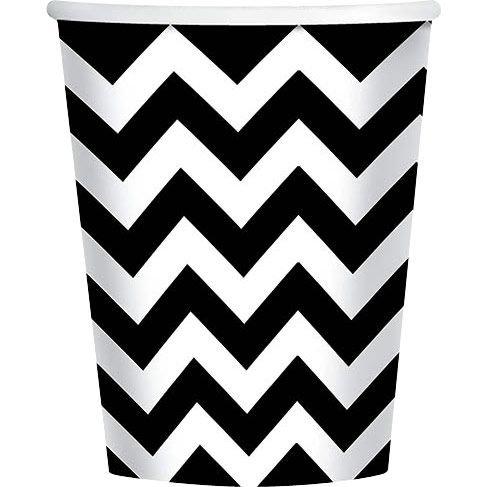Black & White Chevron 9Oz Cups (18 Pack) - Party Supplies