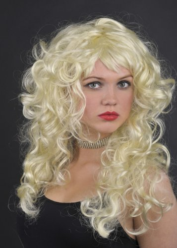 Ladies 80s Blonde Curly Glamorous Angelica Wig (1980 Fancy Dress Outfits)