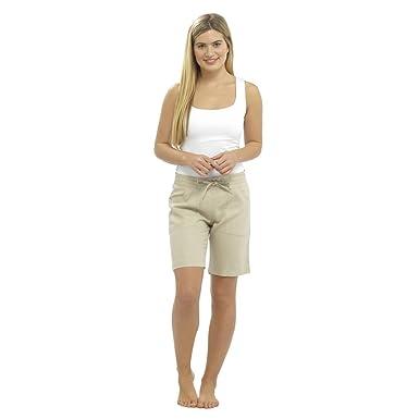 f729fcca39aea9 Krishwear Ladies Womens Summer Linen Trouser Shorts with Elasticated Waist  Holiday Beach Hot Pants Size UK 10-18 UK