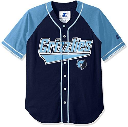 STARTER NBA Memphis Grizzlies Men's The Player Baseball Jersey, 4X, Navy