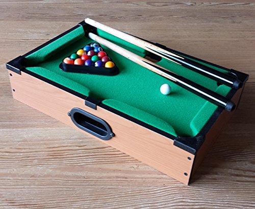 Mini Billardtisch Holz Tischbillard Mini Billard Billiard Tisch mit Kugeln Queue Dreieck (LHS)