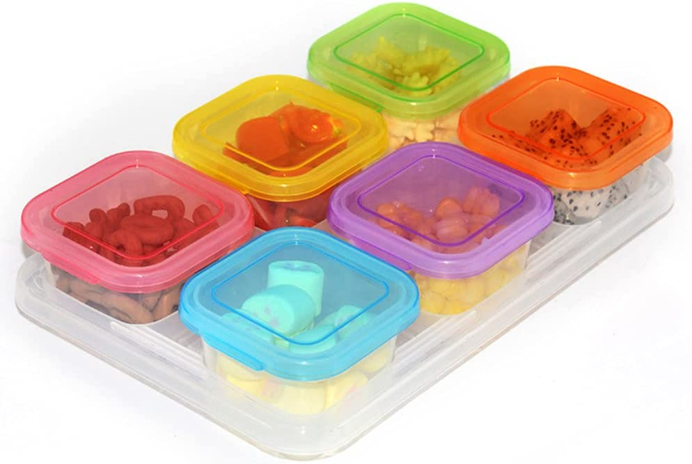 6 Pack small plastic food storage containers with lids Leakproof small airtight containers, square school lunch containers for kids, leftover meal containers
