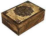 SAAGA SW-3006A Multipurpose Decorative Wooden Jewelry Trinket Holder Keepsake Storage Box with Mandala Carving/Handmade : 10x7 inches (LxB)
