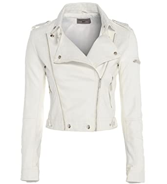 great fit modern and elegant in fashion novel design Womens BIKER JACKET Crop FAUX LEATHER Ladies ZIP White Size 8 10 12