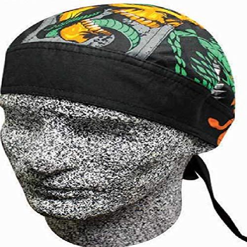 Danbanna Deluxe Snakes Flames Skulls Biker Durag Head Wrap Cap Hat - Flame Snake