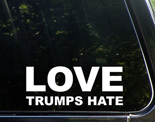 "Love Trumps Hate (8-3/4"" x 3-1/2"") Die Cut Decal Bumper Sticker For Windows, Cars, Trucks, Laptops, Etc."