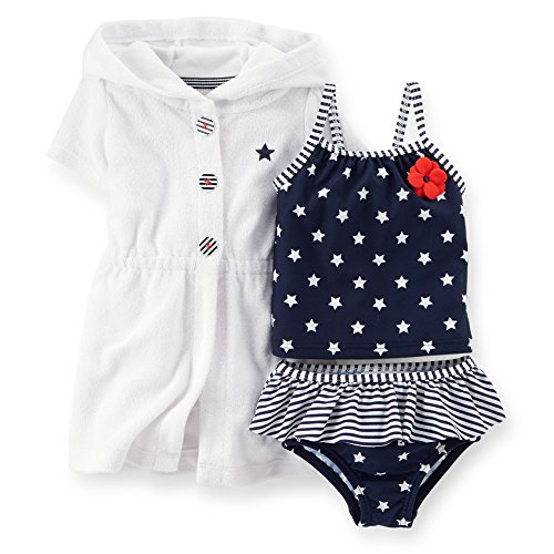 Carter's Baby Girls' 4th of July 3-piece Swim Set (6 Months, Red/White/Blue)