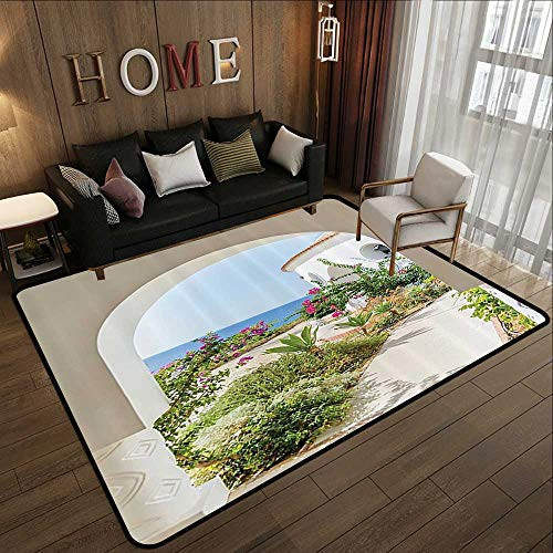 "Floor mats for Trucks,Mediterranean Tuscan Island Decor Collection,Flowers Garden Old Architectural Chic House Ancient Explorer Scenery 47""x 71"" Anti-Fatigue Comfort Mat"