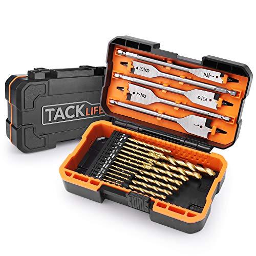 Drill Bits set, TACKLIFE DB01 Titanium Drill Bit Set 25 pcs-20pcs HSS Twist Drill Bits for Steel, Wood, Plastic,5 Spade Drill Bit Set for Wood,Advanced Set with Moulded Display Carry Case ()