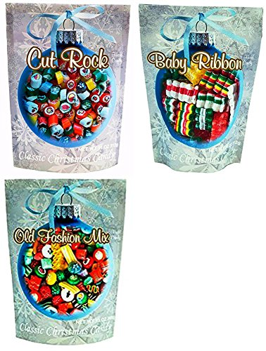 Primrose Variety Combo, Old Fashion, Cut Rock & Baby Ribbon Mix Hard Candy - Classic Christmas Candy 13 oz (Pack of (Ribbon Rock)
