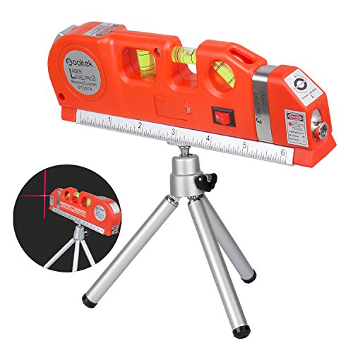 Multifunction Laser Level - Qooltek Laser Level Line Laser Measure +8ft Tape Ruler Adjusted Standard and Metric Rulers with Silver Metal Tripod Stand(Red)