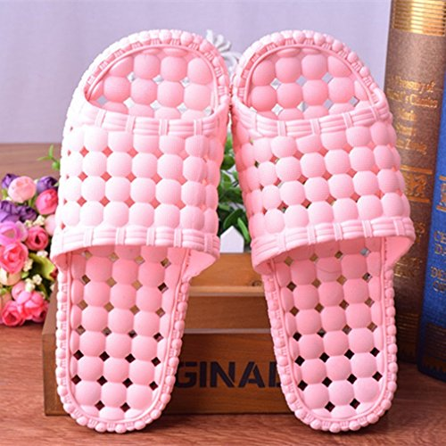 Maybest Unisex Bathroom Shower Slipper Non-slip Bubble Spa Massage Shoes Household Sandal Pink for Women M8OHr3l