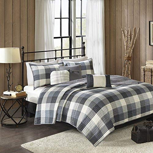Madison Park Ridge King/Cal King Size Quilt Bedding Set - Grey, Plaid - 6 Piece Bedding Quilt Coverlets - Ultra Soft Microfiber Bed Quilts Quilted Coverlet